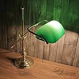 Tischleuchte Messing Echt Poliert Glasschirm Grün Zugschalter Art Déco Handarbeit Premium Bankerlampe Schreibtisch