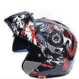 SHR-GCHAO Casco del Motociclo, ABS + Doppia Lente Antinebbia Casco, Casco Moto, Adatto Ad Adulto Uomini E Donne (Carpa, Zebra),Carp,XL (61~62)
