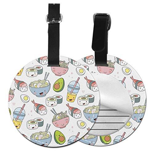 Kofferanhänger PU Leder Ramen Nudeln Sushi Avocado, Gepäckanhänger ID Etikett Mit Adressschild Namenschild für Reisetasche Koffer