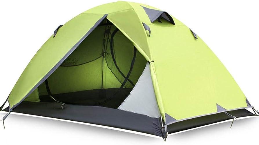 ZSLLO Tente en Plein Air 2 Personnes 3-4 Double équipement De Camping Aluminium Pole Light Antichutifère Camping Sauvage épaississement Anti-tempête