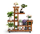 TOETOL Plant Stand Indoor, Wood Outdoor Plant Stand Multi Tier Flower Stand with Wheels in Corner Window Living Room Balcony Patio Yard (11-13 Flowerpots)