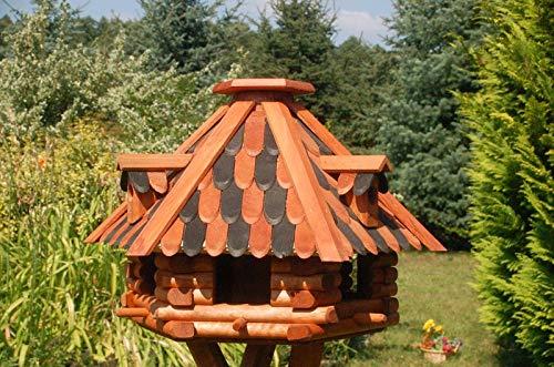 Deko-Shop-Hannusch Futterhaus/Vogelhaus mit Holzschindeln und Gauben Verschiedene Dachfarben und Solarbeleuchtung wählbar, V13, Farbe:V13 braun-schwarz mit Solar