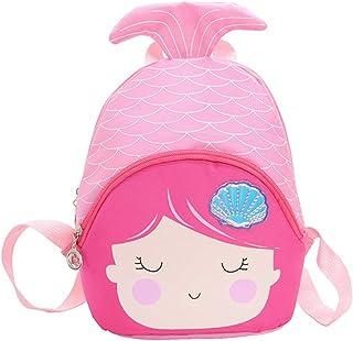 Mochila infantil con forma de sirena de dibujos animados, mochila de nailon para niñas y niños (azul) Picture 3 26*23cm
