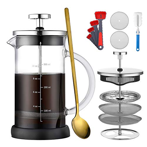 French Press Coffee Maker ONEISALL 188 Stainless Steel Coffee Press Tea maker with Upgraded Filters Heat Resistant Borosilicate Glass Anti-Slip Silicone Base Easy Clean 12oz350ml
