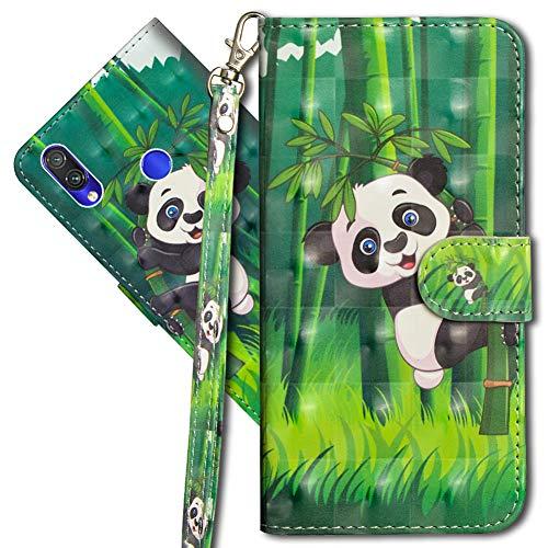 MRSTER Funda para Xiaomi Redmi Note 7, 3D Brillos Carcasa Libro Flip Case Antigolpes Cartera PU Cuero Funda con Soporte para Xiaomi Redmi Note 7. YX 3D Panda Bamboo