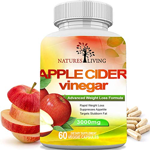 Apple Cider Vinegar 3000mg Extra Strength (60 Veggie Capsules) for Weight Loss & Cleanse - Natural Diet Pills Women & Men for Bloating, Constipation Relief, Digestion, Energy Boost