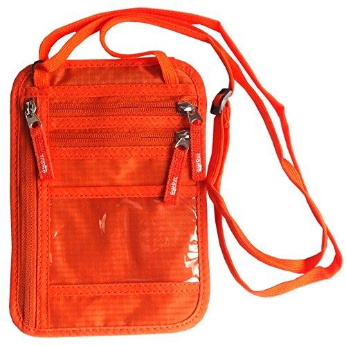 Tramo パスポートケース 首下げ スキミング防止 ネックポーチ 海外旅行 便利 貴重品入れ (オレンジ)
