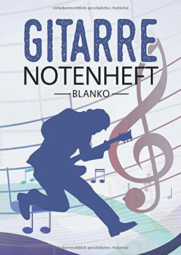 Gitarre Notenheft Blanko: Notenheft DIN A4 Mit 110 Seiten - Notenpapier für Kinder und Erwachsene, Notenblock, Musikheft, Notenbuch, Notenblätter - Motiv: Gitarre Noten Vintage Bunt