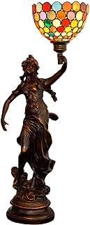 QGL-HQ 8 Pouces Tiffany Lampe de Table en Verre teinté Fille Points colorés Motif Mode Main Lampe de Chevet Lampe d'intéri...