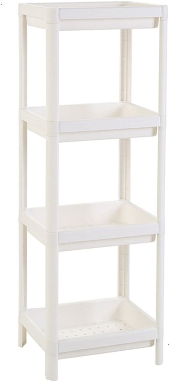 TLMY Bathroom Shelf Washbasin Bathroom Four-Story Floor Square Storage Shelf Shelf (color   White)
