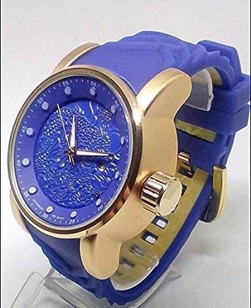 62584ecdac0 Novo Relógio Invicta Yakuza S1 Dragon Azul Com Dourado - Masculino- C caixa