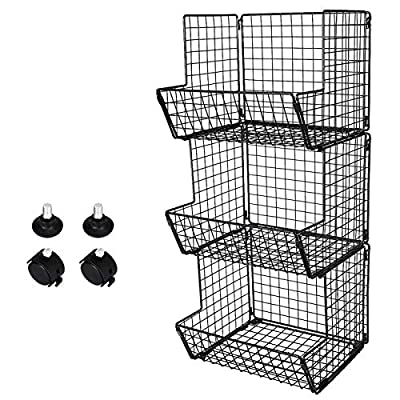 TQVAI Heavy Duty 3 Tier Hanging Wire Fruit Baskets Bathroom Towel Rack Stand from