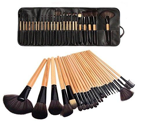 Poignée en bois naturelle professionnelle 24pcs noir/brun / rose maquillage ensemble avec étui, wood color