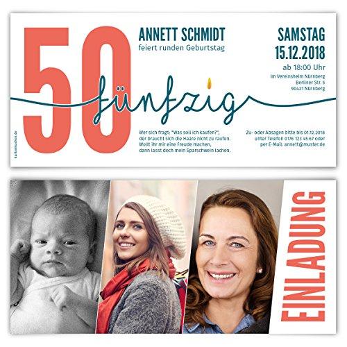 30 x Einladungskarten runder Geburtstag 50 Jahre Geburtstagseinladungen - Foto Zeitstrahl
