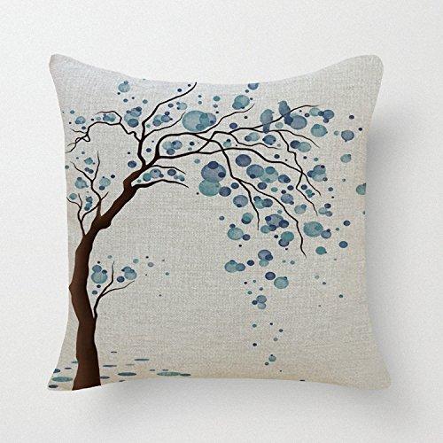 1ZMountletstore-Grün Watercolor Baum quadratisch dekorativer Überwurf-Kissenbezug Decor Kissen Bett Sofa und Auto 18x 18Quadratisch