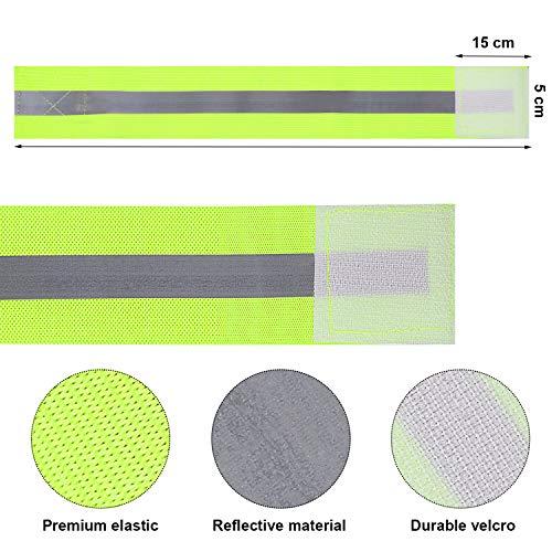 FUNVCE Reflektorband Reflektierendes Armband 6er Set Sicherheit Reflexband Outdoor Joggen Radfahren Fahrrad Laufen Reiten Kinder Klettverschluss Elastisch Leuchtband - Neon-Gelb - 2