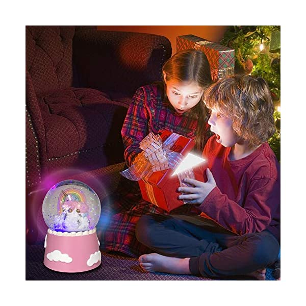 J JHOUSELIFESTYLE Unicorn Snow Globe Musical for Kids, Sleeping Unicorn and Rainbow Rotating Inside as Music Plays… 7