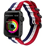 SIXRARI Sport Watch Strap Bands Compatible with Apple Watch Band 42mm 44mm, Nylon Wristband Loop Replacement with Adjustable Military Buckle for iWatch Series 6 5 4 3 2 1 SE