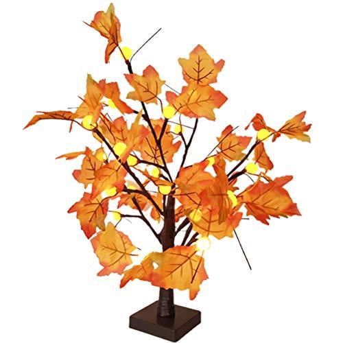 Lámpara LED de hojas de arce, 60 cm, 24 ledes, funciona con pilas, luz blanca cálida, para otoño, decoración de otoño, perfecta para el día de Acción de Gracias, Pascua, Navidad