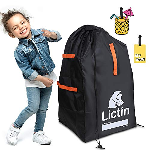 Lictin Car Seat Travel Bag, Safety & Durable Gate Check Bag for Air Travel Baby Seat Protection Bag with 2 Cute Luggage Tags,Folding Storage Luggage Bag for Baby Car Seat