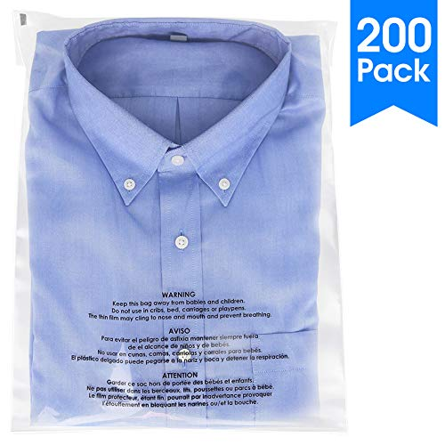 """Spartan Industrial    200 Count - 12"""" X 15"""" Self Seal Clear Poly Bags with Suffocation Warning for Packaging, T Shirts & FBA (More Sizes Available) - Permanent Adhesive"""
