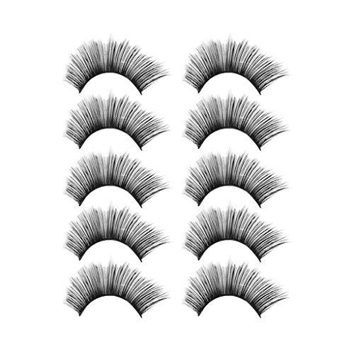 IYU_Dsgirh Faux cils 3D, maquillage de luxe 5Pair 3D faux cils cils duveteux longue partie naturelle (NOIR)
