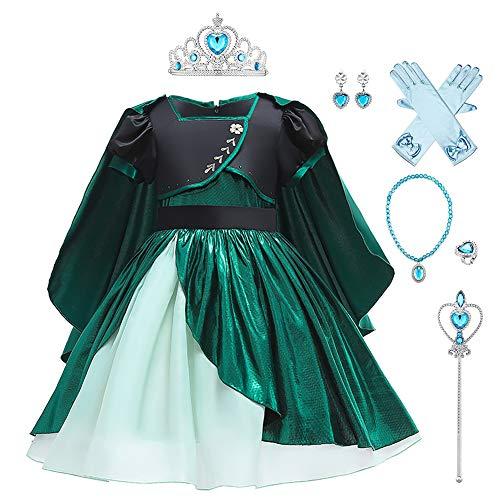 OBEEII Disfraz de Princesa Anna para nias Frozen 2 Vestidos de Carnaval Fiesta Halloween Cosplay Navidad Fancy Dress Up Costume Anna02 6-7 Aos