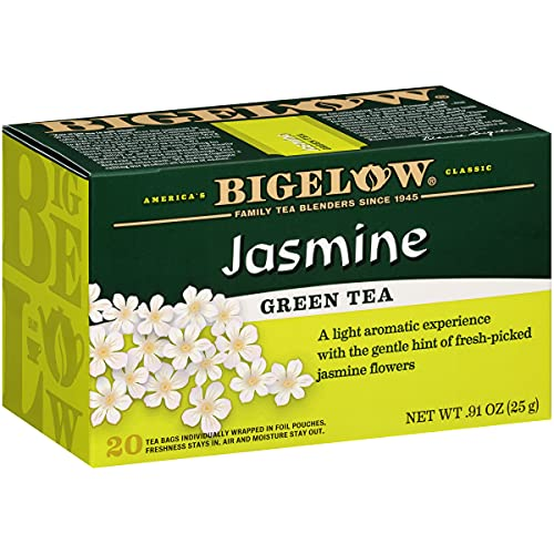 Bigelow Jasmine Green Tea Bags, 20 Count Box (Pack of 6) Caffeinated Green Tea, 120 Tea Bags Total