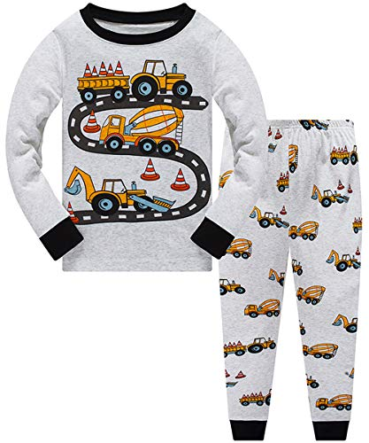 Little Boys Pajamas for Toddler Clothes Set Truck Sleepwear Long Sleeve 100% Cotton 2 Piece Kids Pjs(Truck-21 10T)
