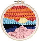 TXXM DIY enganchar de la Manta Crafts Knitting Bordado Kit 20cm Ronda Bordado Base de punzonado Starter Kit con punzonado (Color : Seaside)