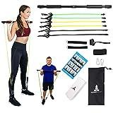 Spirited Namaste-Portable Pilates/Yoga Body Bar & Stick Home Toning Workout Kit with 3 Resistance...