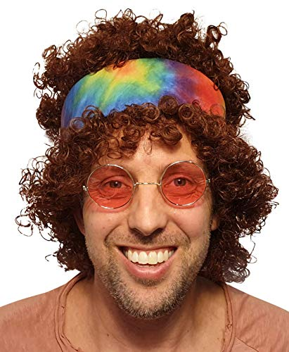 Afro Hippie Wig with Tie Dye Bandana Curly Brown Color with for All 60s 70s Hippy Parties Festivals Halloween Woodstock