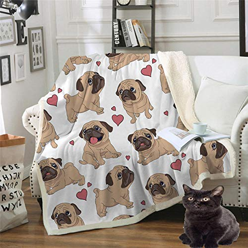 PengMu zachte knuffeldeken, dubbel, dik katoenen fluweel, 3D-print, emoticon, hond