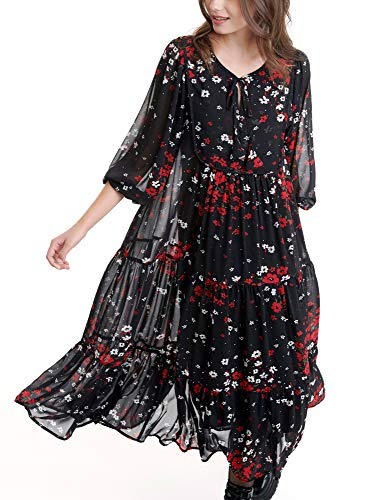 FUNKY BUDDHA Women's Bohemian Maxi Dress with Floral Print Black in Size Medium