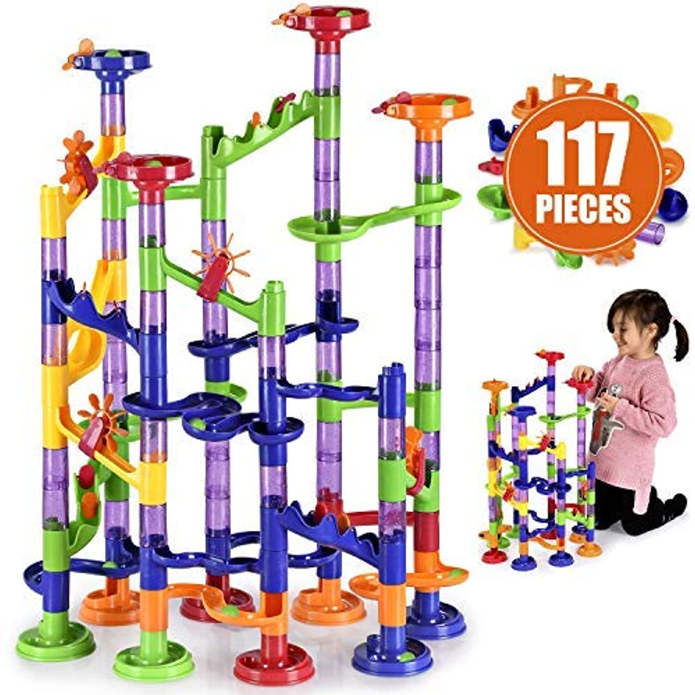 briteNway Large Marble Run Toy Set for Kids (117-Piece Set) Glass Balls, Plastic Rails, and DIY Building Play Pieces | Create Fun, Colorful Mazes for Kids, Teens, Adults | Beginner