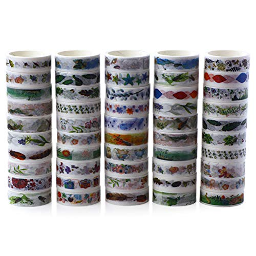 Set of 50 Colorful Landscape Pattern No Trace Washi Tape - 9.84Ft x 0.59Inch (LxW) Art Masking Tape for DIY Decorative Border Gift Packaging and Hand Account Notebook Album