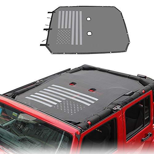 JeCar Mesh Sunshade Top Shade Cover UV Protection for Jeep Wrangler 2007-2018 JKU 4 Door