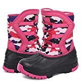 Boys Girls Snow Boots Cold Weather Shoes Winter Boot Waterproof Slip Resistant (T5 Pink 33)