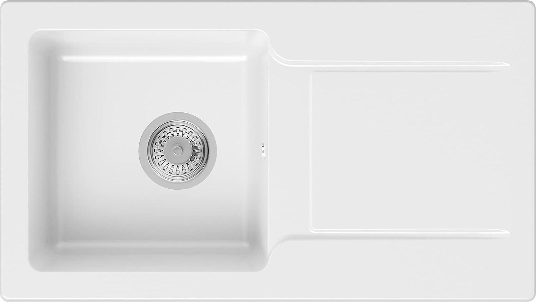 PRIMAGRAN Fregadero de Granito 78 x 44 cm, Lavabo Cocina Un Seno + Sifón Clásico, Fregadero Empotrado San Francisco, Blanco