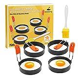 Anillo de Huevo 4 Paquetes 2.95 Pulgadas Anti-escaldado con Mango Plegable con Cepillo de Aceite Molde de Huevo Antiadherente Herramienta útil para el Desayuno