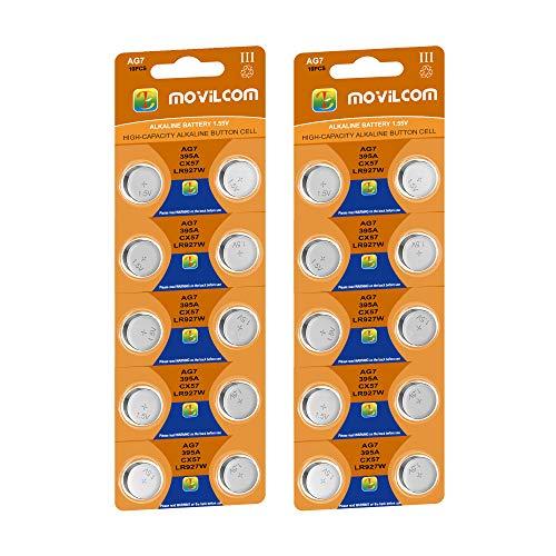 MovilCom® - 20 Pilas botón AG7 Pila Reloj 1.5V Equivalente a SR927W, V399, 399, SR927, D399, S926E, W, LR927, SR57