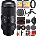 Sigma 100-400mm f/5-6.3 DG DN OS Contemporary Lens Sony E-Mount Bundle with 2X 64GB Memory Cards, IR Remote, 3 Piece Filter Kit, Wrist Strap, Card Reader, Memory Card Case, Tabletop Tripod from SIGMA