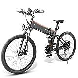 Lanceasy Bicicleta eléctrica plegable LO26, 10 Ah, 48 V, 500 W, 26 pulgadas, 25 km/h, velocidad máxima de 80 km