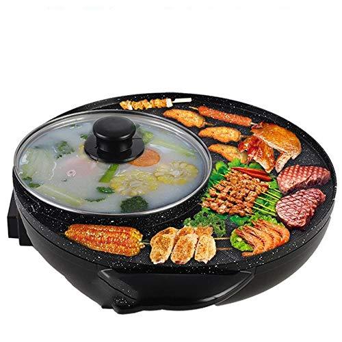 LVLUOYE Hot Pot, Teppanyaki Hot Pot, Household Multifunktions-Dual-Use-Topf, gebraten, gegrillt, gekochten heißen Topf, 34cm, schwarz