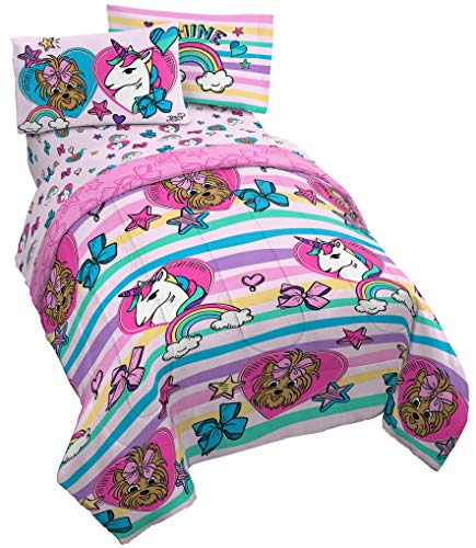 Jay Franco Nickelodeon JoJo Siwa Unicorn Shine 4 Piece Twin Bed Set - Includes Reversible Comforter & Sheet Set Bedding - Super Soft Fade Resistant Microfiber (Official Nickelodeon Product)
