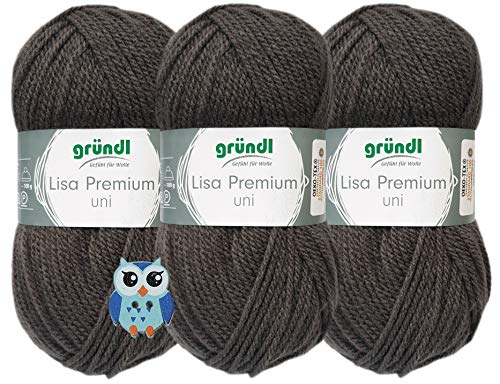 3x50 Gramm Gründl Lisa Premium Uni aus 100% Polyacryl Häkelgarn Schulgarn + 1 Eulen Knopf (25 Dunkelgrau)