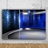 Yeele 8x6ft Photography Background Blue TV Studio Interior Television Room Camcorder Screen Media Broadcast Monitor Global News Anchor Interview Photo Shoot Props Newsman Journalism