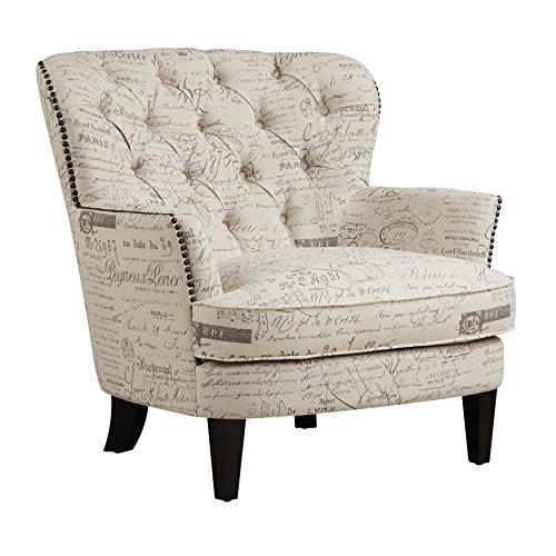 Pulaski Paris Script Button Tufted Accent Arm Chair, 34' x 35' x 34', Beige