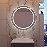 SIRHONA 80x80cm Miroir de maquillage monté sur mur avec miroir éclairé rond et rétro-éclairé par miroir de salle...