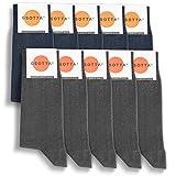 GSOTTA Calcetines premium 10 paquetes, calcetines de negocios para mujeres y hombres, unisex, calcetines de algodón, calcetines de trabajo con una pretina suave, 5 x azul y 5 x gris, talla 39-42
